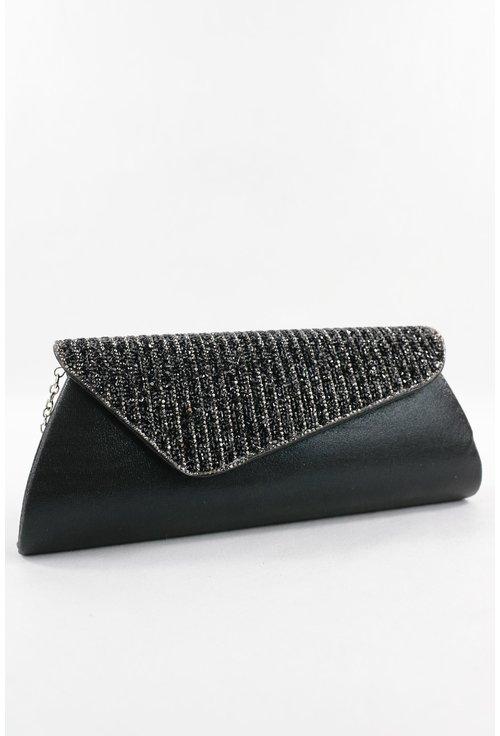 Plic negru cu capac asimetric