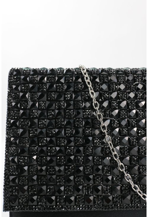 Plic negru cu capac decorat cu strasuri mari