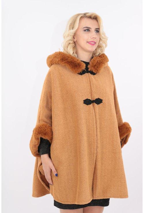 Poncho camel cu gluga