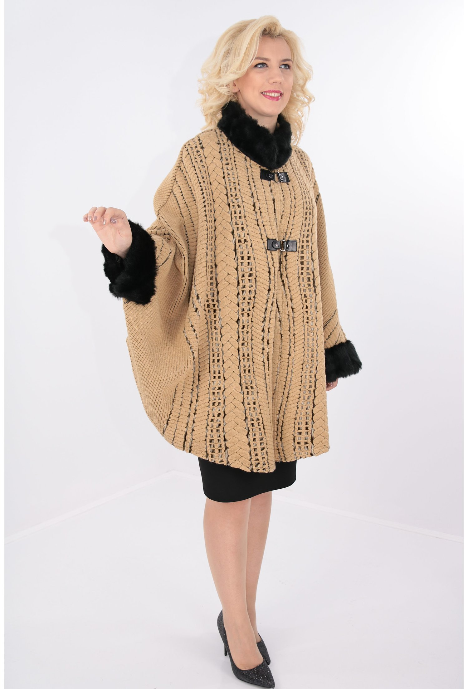 jumătate de preț destul de frumos site autorizat Poncho camel tricotat cu blanita neagra pret 188 RON-Trend Land