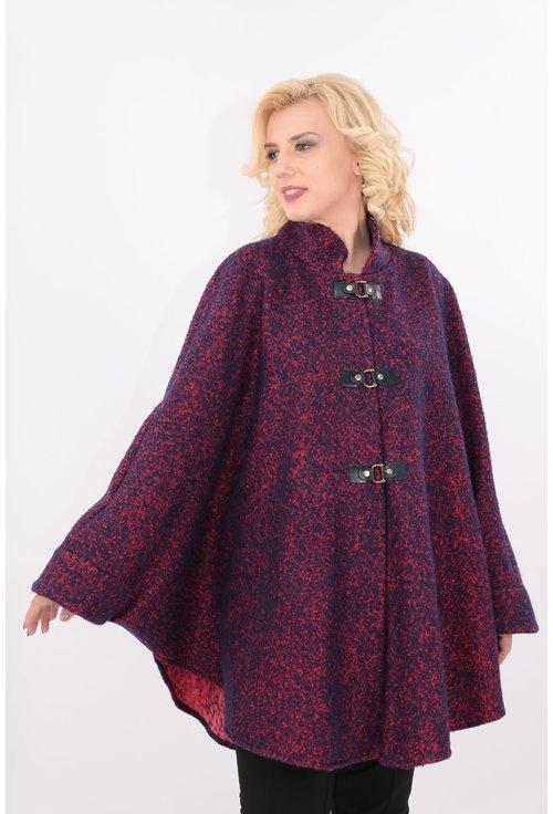 Poncho din stofa groasa bleumarin cu rosu