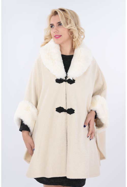 Poncho elegant ivory cu guler de blana