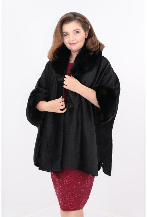 Poncho elegant negru cu guler de blana