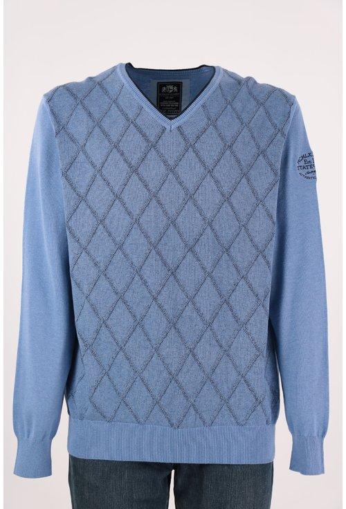 Pulover bleu cu anchior si carouri