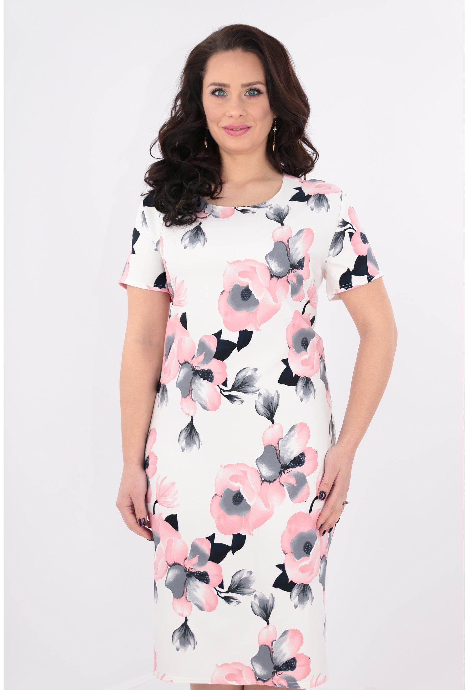 Rochie alba cu flori maxi roz