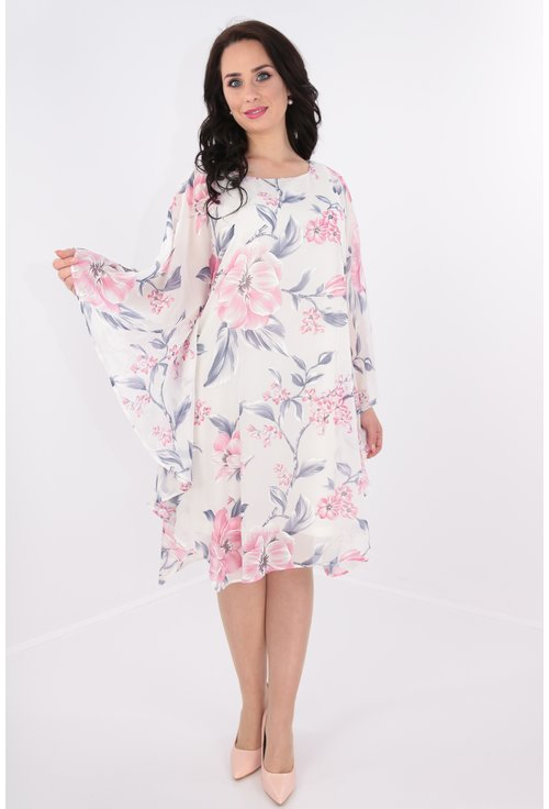 Rochie alba din voal cu print floral