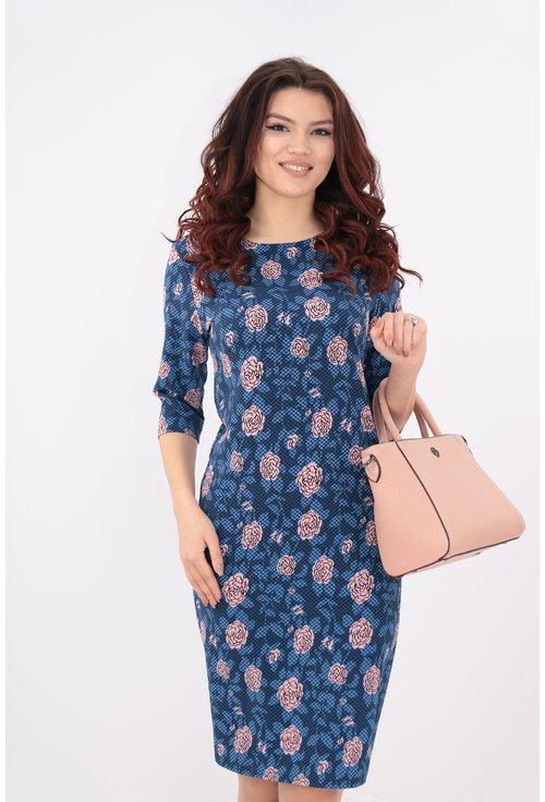 Rochie albastra cu flori roz
