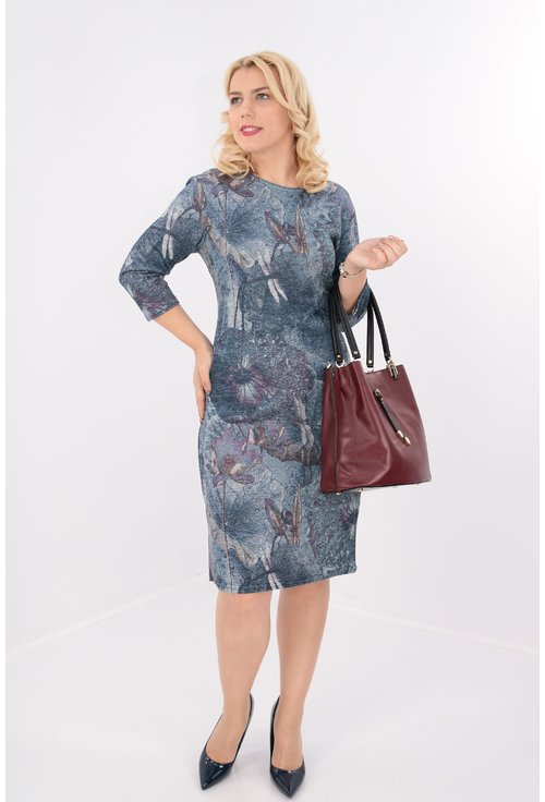 Rochie albastra cu print abstract