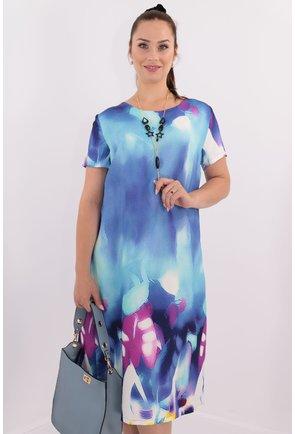 Rochie albastra cu print multicolor
