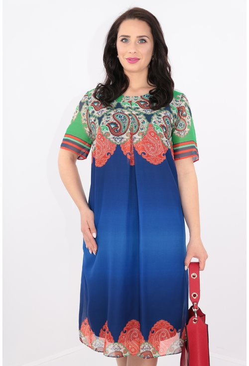 Rochie albastra din voal cu bordura multicolora