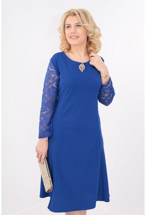Rochie albastra in clini cu maneci din dantela