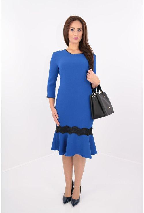 Rochie albastra-regal cu volan si dantela neagra