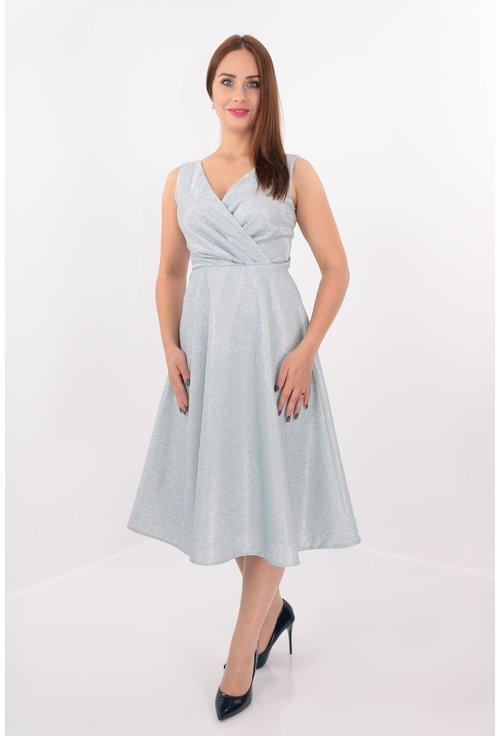 Rochie argintie clos cu pliuri asimetrice