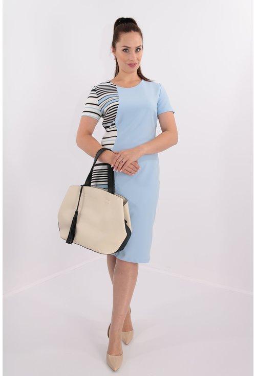 Rochie bleu cu dungi asimetrice