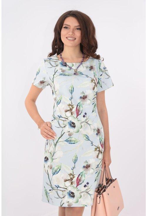 Rochie bleu cu print floral maxi vernil