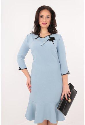 Rochie bleu cu volan si dantela handmade