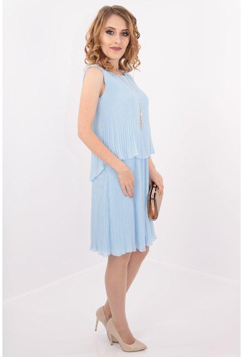 Rochie bleu din voal plisat