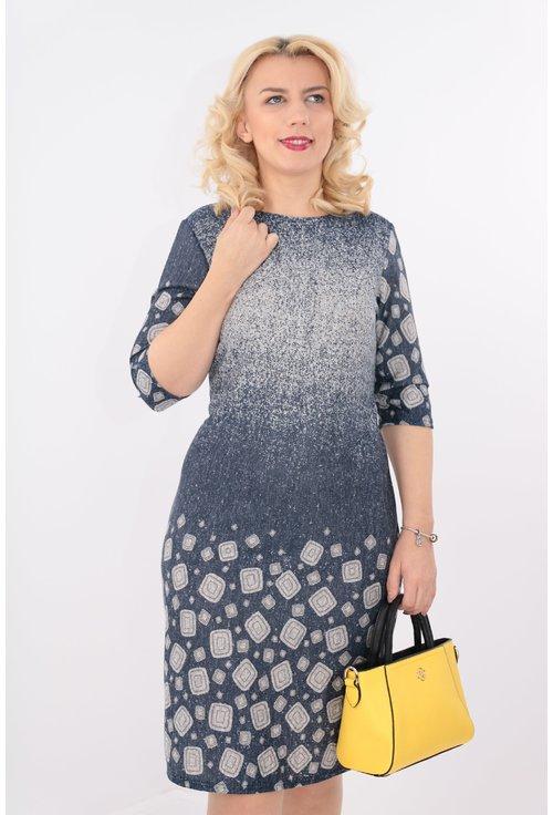 Rochie bleumarin cu degrade si bordura gri