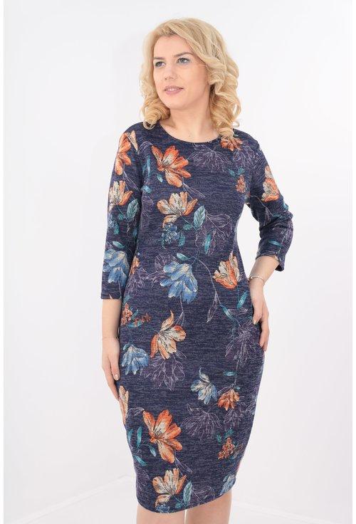 Rochie bleumarin cu flori caramizii si bleu