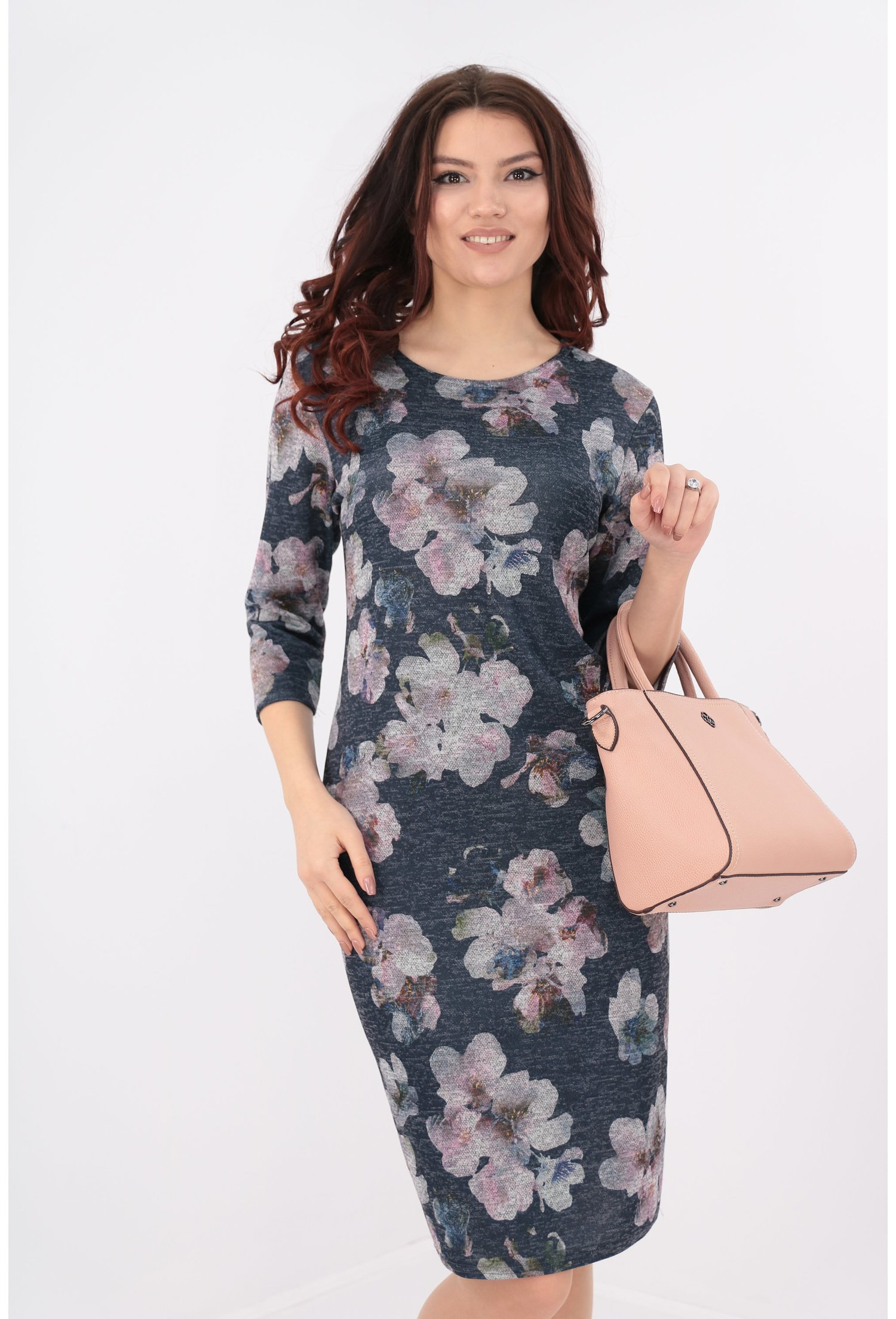 Rochie bleumarin cu imprimeu floral maxi