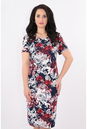Rochie bleumarin cu print floral alb-rosu