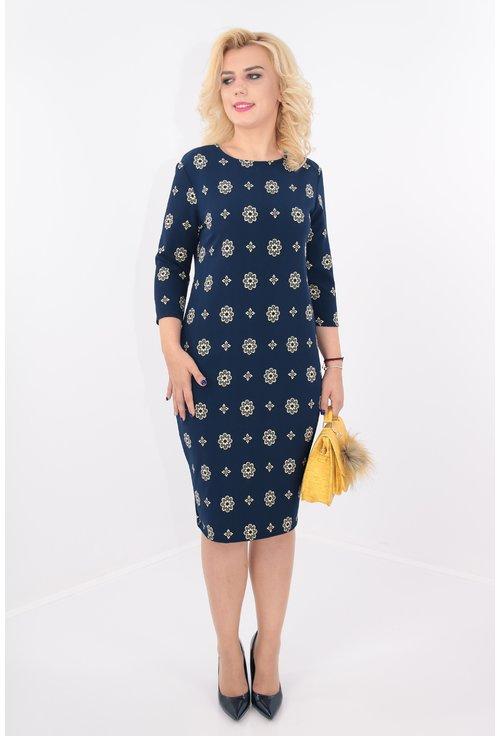 Rochie bleumarin cu print floral crem