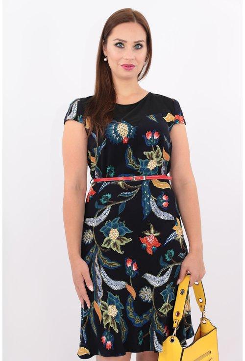Rochie bleumarin cu print floral multicolor