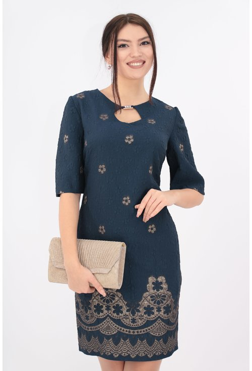 Rochie bleumarin din brocard cu bordura aurie