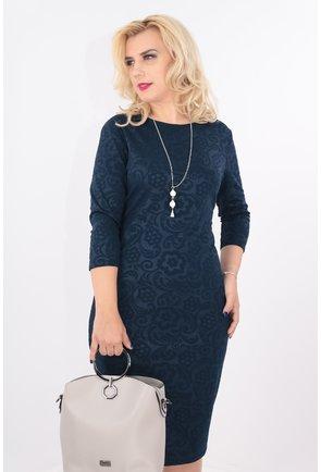 Rochie bleumarin din brocard elastic