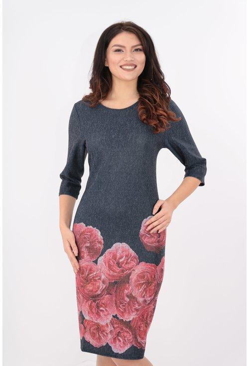 Rochie bleumarin din jerse cu bordura florala