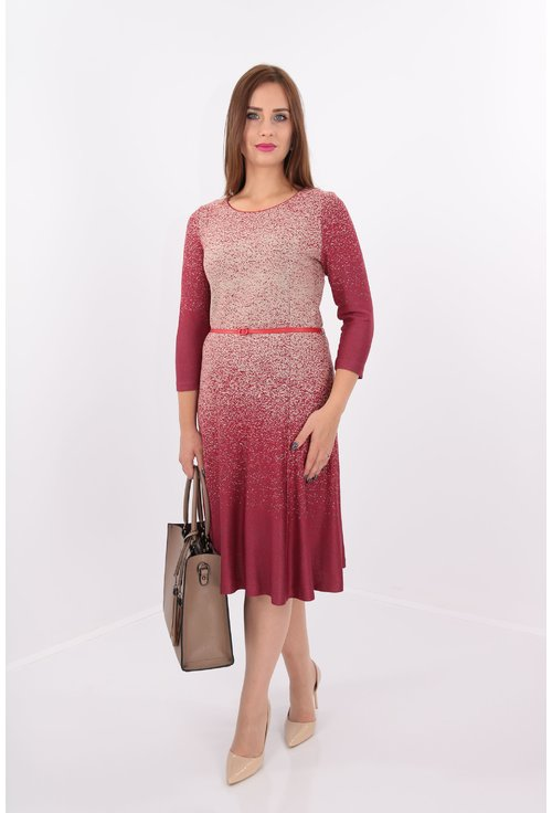 Rochie bordo in degrade din jerse