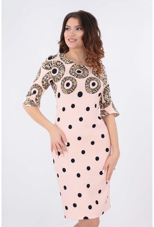 Rochie bordurata roz pudra cu buline bleumarin