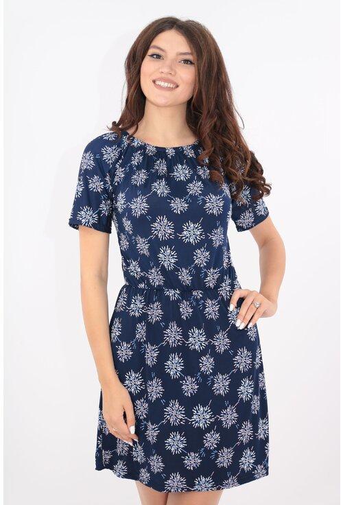 Rochie casual bleumarin cu elastic in talie