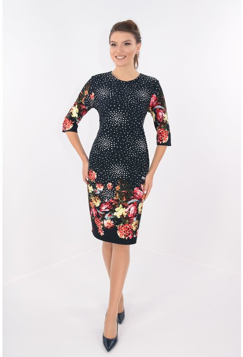 Rochie casual neagra cu bordura florala rosie