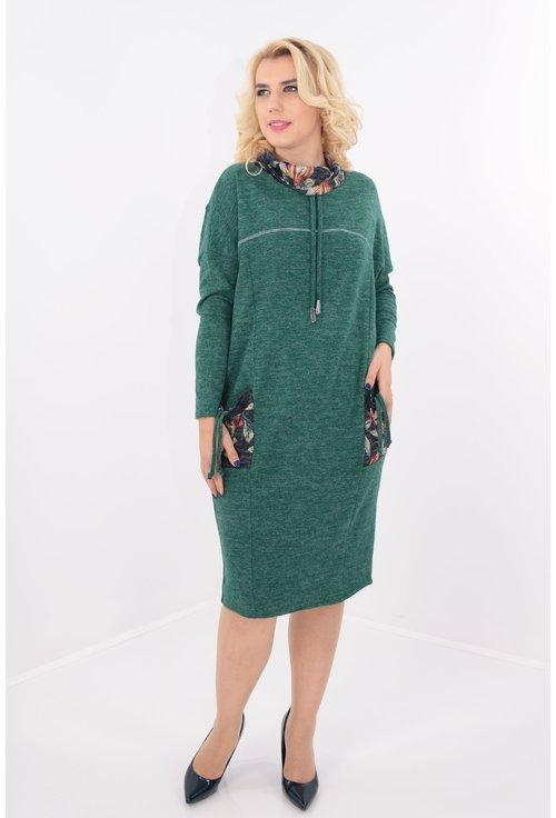 Rochie casual verde cu buzunare