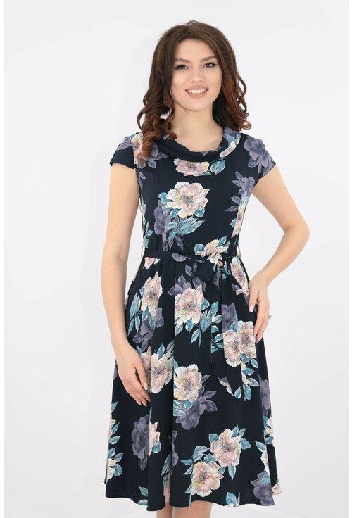 Rochie clos bleumarin cu print floral