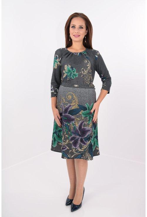 Rochie clos gri cu bordura florala multicolora