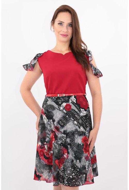 Rochie clos rosie cu print gri
