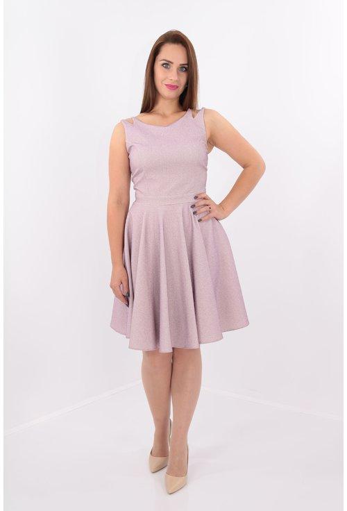 Rochie clos roz din lurex cu bretele