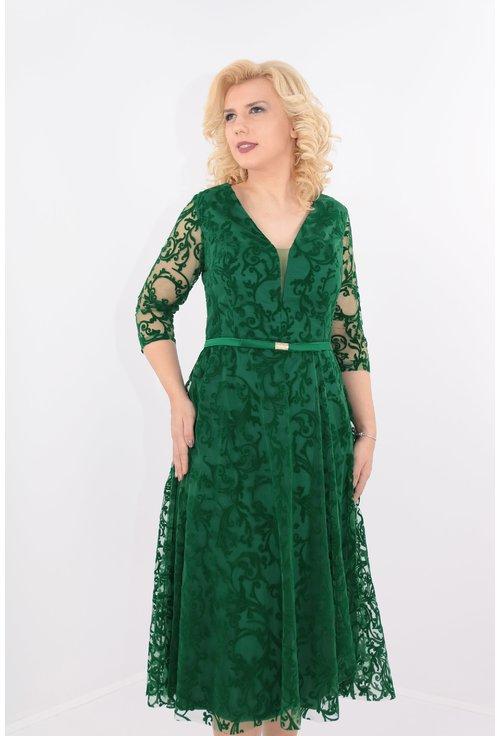 Rochie clos verde din tull cu catifea