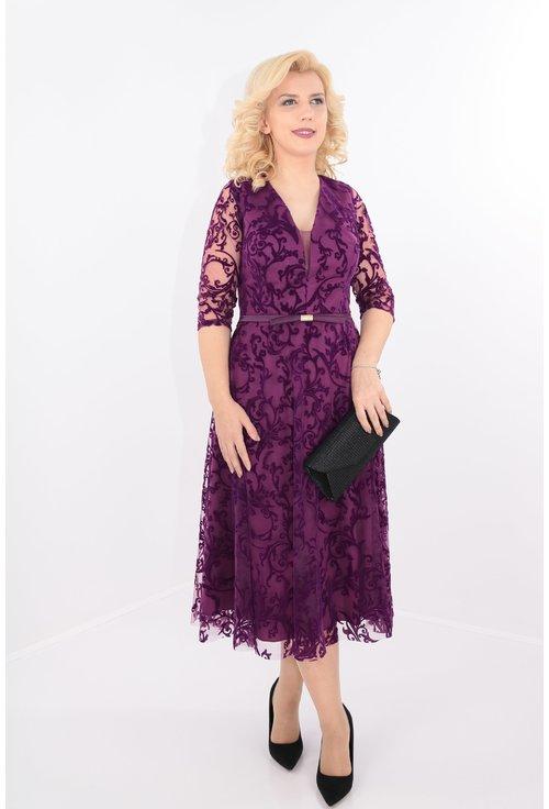 Rochie clos violet din tull cu catifea