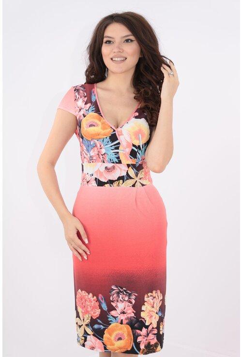 Rochie corai cu print floral