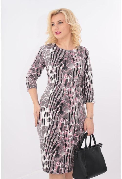 Rochie cu animal print negru-roz