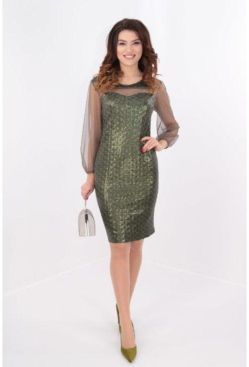 Rochie cu paiete olive si maneci din tull