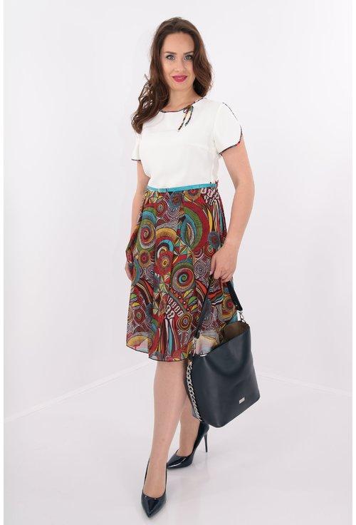 Rochie cu pliuri cu print multicolor
