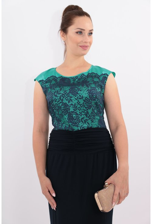 Rochie de seara bleumarin cu dantela aplicata