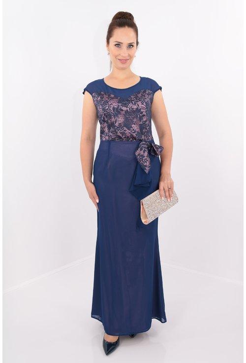 Rochie de seara din voal bleumarin cu dantela
