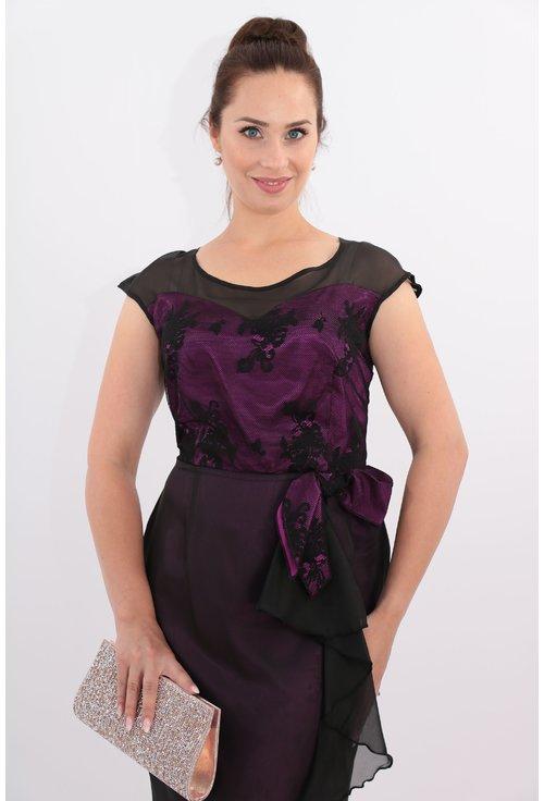 Rochie de seara din voal negru si saten ciclamen