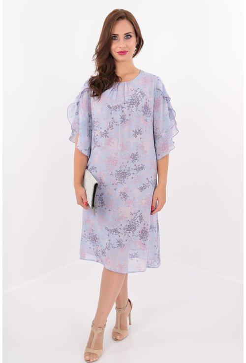 Rochie diafana din voal lila cu print floral