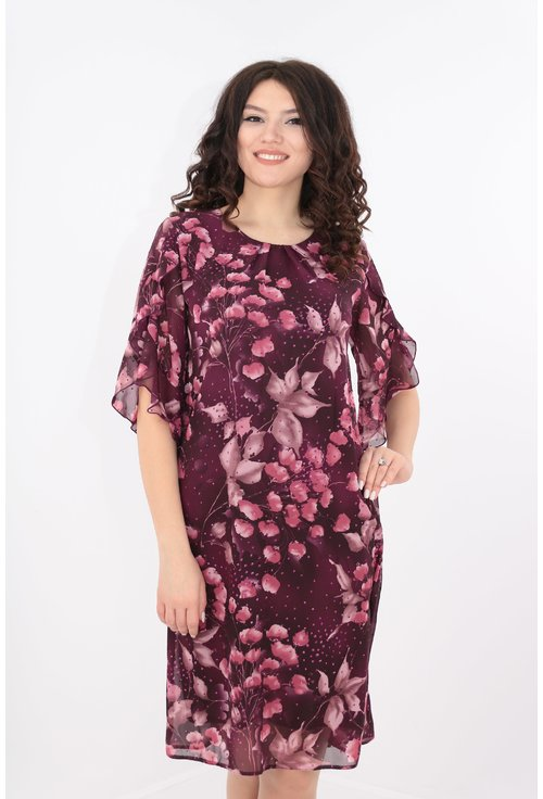 Rochie diafana din voal mov cu print floral si sclipici